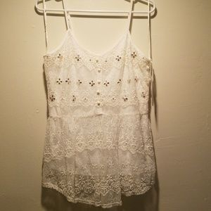 Candies White Lace Embellished Tank top